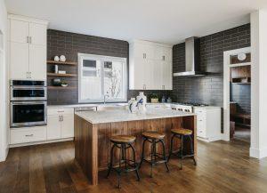 Modern Kitchen Island with Wood Paneling